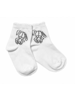 Baby Nellys Bavlnené ponožky Cute Bunny - biele, veľ. 122/128 - 122-128 (6-8r)