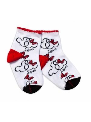 Baby Nellys Bavlnené ponožky Minnie Love - biele - 92-98 (18-36m)
