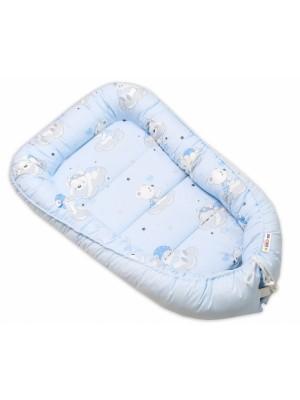 Baby Nellys Bavlnené obojstranné hniezdočko, 55x75cm, Mráčik - modrá