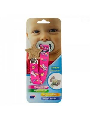 Bambino Klip na cumlík drevený s tvary- dievčenské vzor