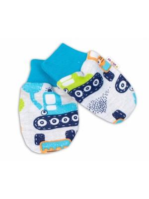 Baby Nellys Dojčenské rukavičky Bager - sivé - 56 (1-2m)