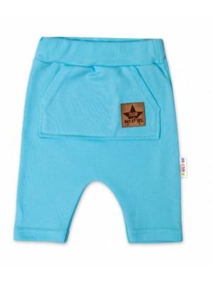 Baby Nellys Bavlnené kraťasy Baggy s klokaním vreckom - sv. modré, veľ. 92/98 - 92/98