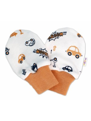 Baby Nellys Dojčenské rukavičky Car - smotanové / hnedé - 56 (1-2m)