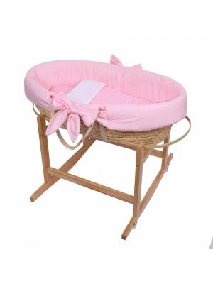 Baby Nellys Kôš Mojžišov pre bábätko so stojanom + matrace - růžová