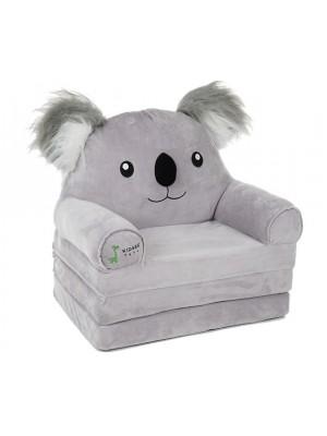 Baby Nellys Veľké rozkladací plyšové kresielko 3v1  - Koala, sivá