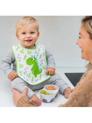 BabyOno Podbradník I CAN ALMOST FEED MYSELF, Dino - zelený