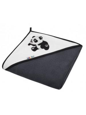 Akuku Detská osuška s kapucňou 100x100cm, froté - Panda, čierna