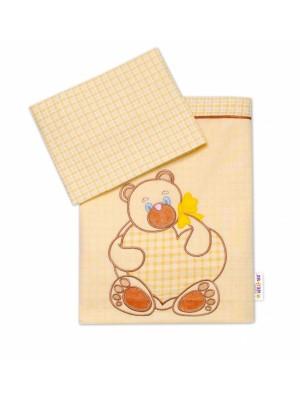 Baby Nellys 2-dielna sada obliečok do postieľky, neutrálne farby, rôzne výšivky - 120x90