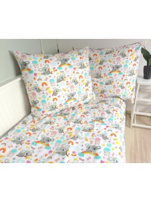 Baby Nellys Bavlněné obliečky - Koala a dúha, biela - 140x200/70x80cm