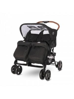 Kočík pre dvojčatá Lorelli TWIN + Nánožník + Taška na kočík BLACK
