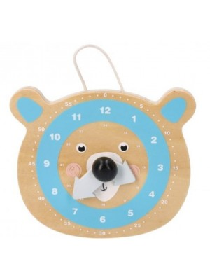 Adam Toys Náučné drevené hodiny - Medvedík