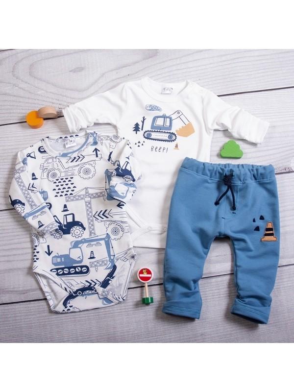 K-Baby 3-dielna sada, 2x body dlhý rukáv, tepláčiky - Stroje, biela, modrá, veľ. 74 - 74 (6-9m)