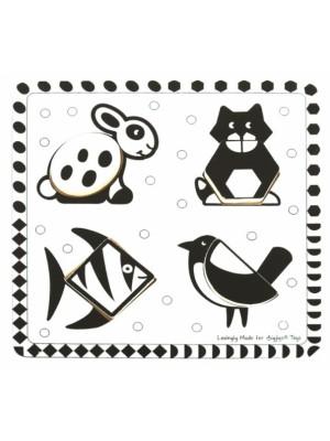 Bigjigs Toys Drevené vkladacie puzzle - Tvary, čiernobiele