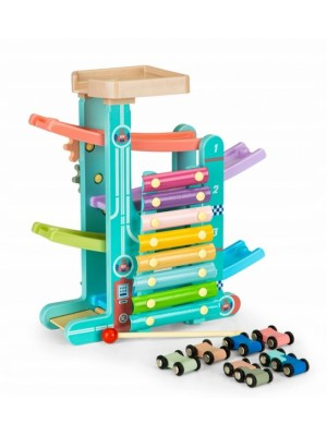 Eco Toys Drevená edukačná šmykľavka s xylofónom