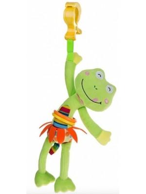 Akuku Plyšová hračka s vibrácií a klipom - Žabka