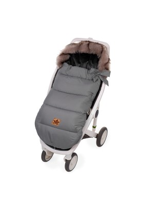 Baby Nelly Detský fusak STYLE 4 v 1 s kožušinkou a mašličkou, 110 x 50 cm, sivý