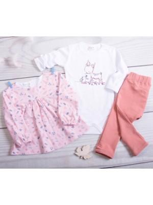 K-Baby 3-dl. sada, 1x body dl. rukáv, tunika, legíny - Bambi, růžová, koral, veľ. 80 - 80 (9-12m)