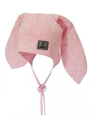 BEXA Bavlnená dvojvrstvová čiapka na zaväzovanie Dots - ružová, veľ. 62/68 - 62-68 (3-6m)