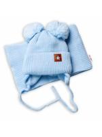 BABY NELLYS Zimná čiapka s šálom STAR - modrá s brmbolcami - 56-68 (0-6 m)