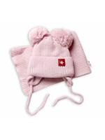 BABY NELLYS Zimná čiapka s šálom STAR - púdrová s brmbolcami, veľ. 68/80 - 68-80 (6-12m)