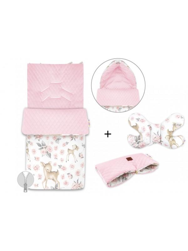 Baby Nellys 3-dielna sada fusak + vankúšik + rukávnik, Srnka a Růže - růžový