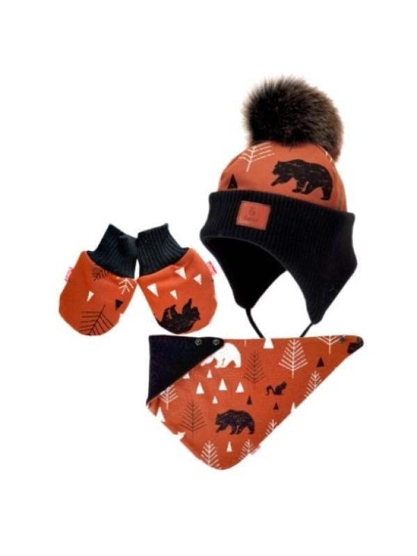 BEXA Zimná čiapka na zaväzovanie s rukavičky Balto + šatka - hnedá / čierna, veľ. 62/68 - 62-68 (3-6m)