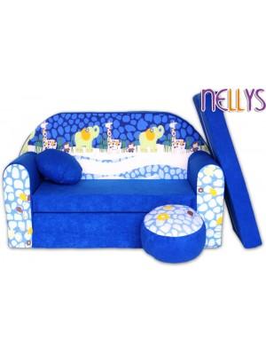 NELLYS Rozkladacia detská pohovka 28R - Safari v modrej