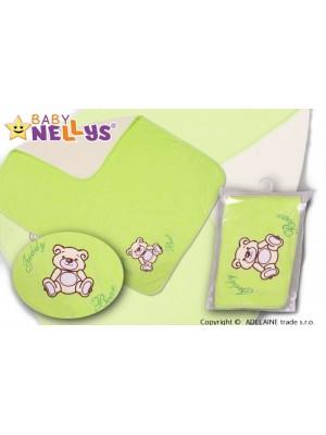 Baby Nellys  Deka / dečka froté / velúr - Macko Teddy - zelená