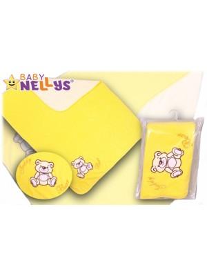 Baby Nellys  Deka / dečka froté / velúr - Macko Teddy - krémová