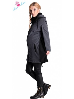 Be MaaMaa Tehotenská softshellová bunda, kabátik - čierna - M (38)