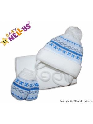 BABY NELLYS  Sada - čiapočka, šál a rukavičky - vzorovaná biela - 68 (3-6m)