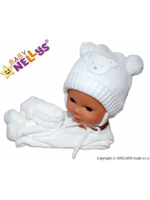 BABY NELLYS  Sada - čiapočka, šál a rukavičky - Macko s bambulkami - 62-74 (3-9m)