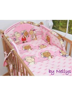 Baby Nellys Bavlnené obliečky Ovečka Jolly ružová - 120x90