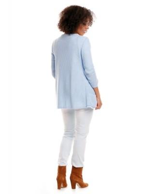 Be MaaMaa Svetrové kabátik s vreckami Dory - svetlo modrá