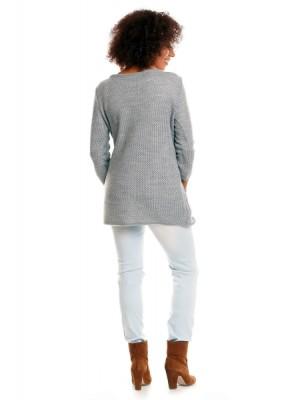 Be MaaMaa Svetrové kabátik s vreckami Dory - svetlo sivý