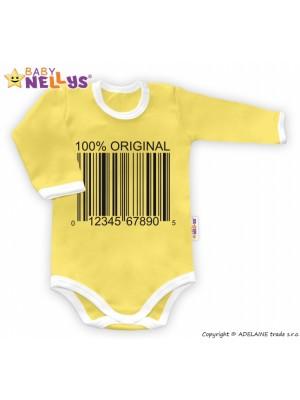 Baby Nellys Body dlhý rukáv 100% ORIGINÁL - žlté / biely lem - 80 (9-12m)