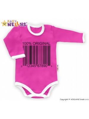 Baby Nellys Body dlhý rukáv 100% ORIGINÁL - ružovo / biely lem - 80 (9-12m)