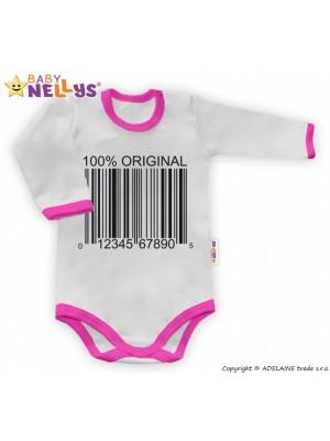 Baby Nellys Body dlhý rukáv 100% ORIGINÁL - sivé / ružový lem - 86 (12-18m)
