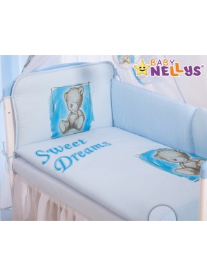 Baby Nellys Mantinel 360 cm s obliečkami Sweet Dreams by Teddy - modrý - 135x100