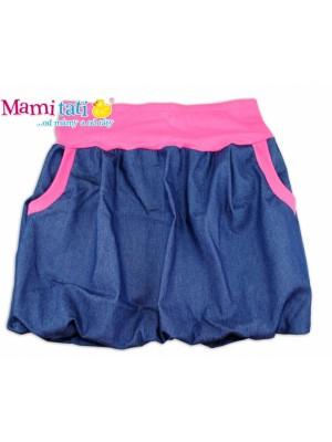 Mamitati Balónová sukně NELLY  - jeans denim granát/ růžové lemy - XL/XXL