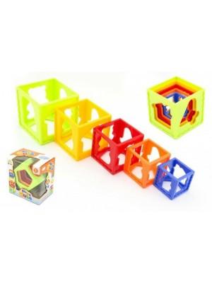 Kubus pyramída skladačka hranatá plast 5ks v krabičke 15x16x10cm 12m +