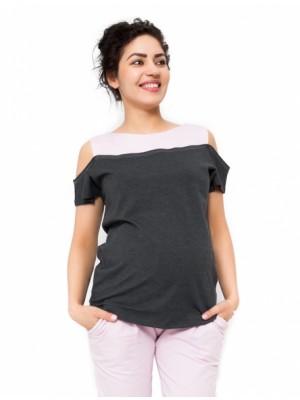 Be MaaMaa Tehotenské tričko Kira - tmavo sivá / ružová - L (40)