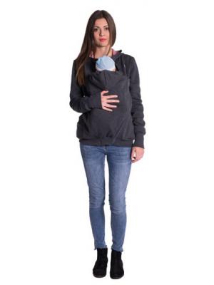 Be MaaMaa Tehotenská a nosiaci mikina - granát jeans - XS (32-34)