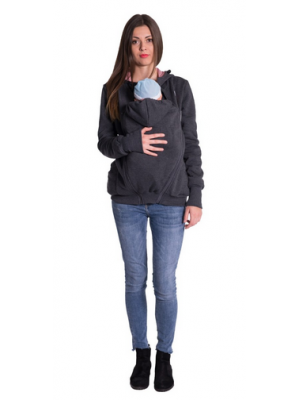 Be MaaMaa Tehotenská a nosiaci mikina - granát jeans - M (38)