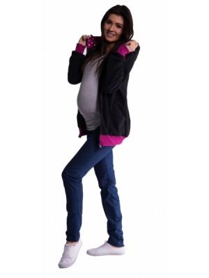 Be MaaMaa Mikina s kapucňou nielen pre tehotné - čierna - L/XL