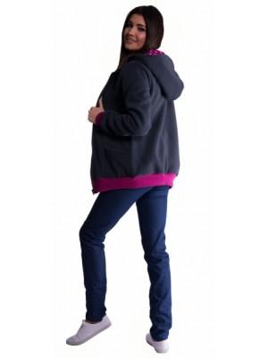Be MaaMaa Mikina s kapucňou nielen pre tehotné - grafit - S/M