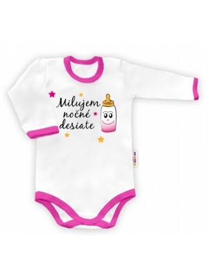 Baby Nellys Body dlouhý rukáv vel. 62, Milujem nočné desiate - biele/ružový lem - 62 (2-3m)