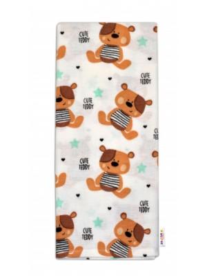Baby Nellys Flanelová plienka - Medvedík hnedý v bielej Cute Teddy
