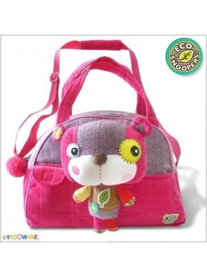 EcoSnoopers Štýlová detská taška Macko - růžový