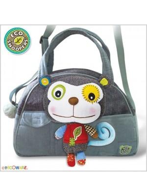 EcoSnoopers Štýlová detská taška Opička - sivá